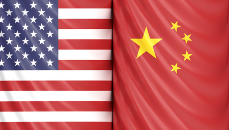 3d render of US America and China flags. USA and China trade relations concept Reklamní fotografie