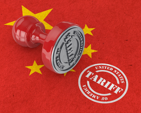 3d render of USA trade tariff stamp on china flag. Trade war between usa  and china concept