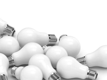 3d render of light incandescent bulbs lying on white background 免版税图像