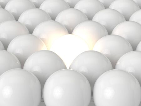 3d render of led light bulbs in row with one lighing Stockfoto