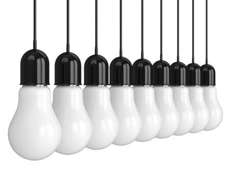 3d render of hanging light incandescent bulbs in row