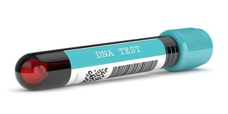 3d render of DNA test tube isolated over white background
