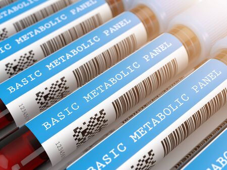 3d render of Basic Metabolic Panel blood tubes in row