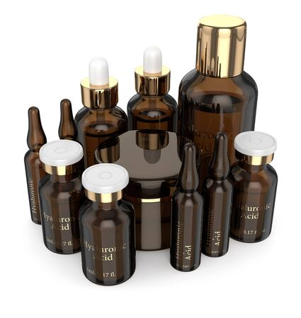 3d render of hyaluronic acid vials, bottles and cream isolated over white background