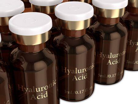 3d render of hyaluronic acid vials in row