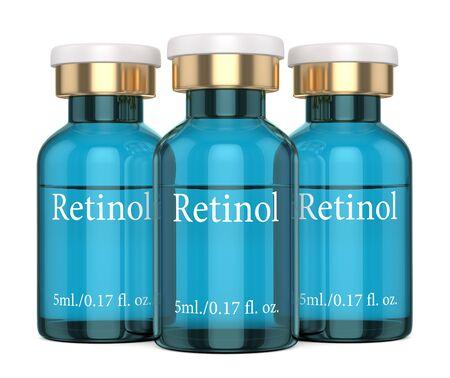 3d render of retinol vials over white  background Zdjęcie Seryjne