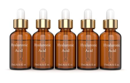3d render of hyaluronic acid bottles with dropper isolated over white background