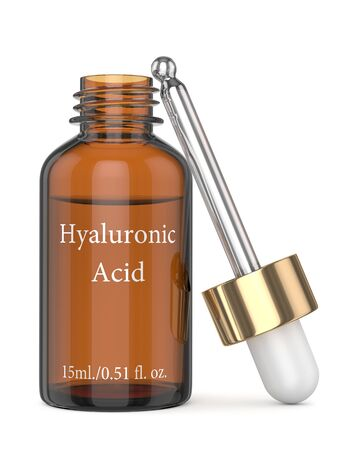 3d render of hyaluronic acid bottle with dropper isolated over white background