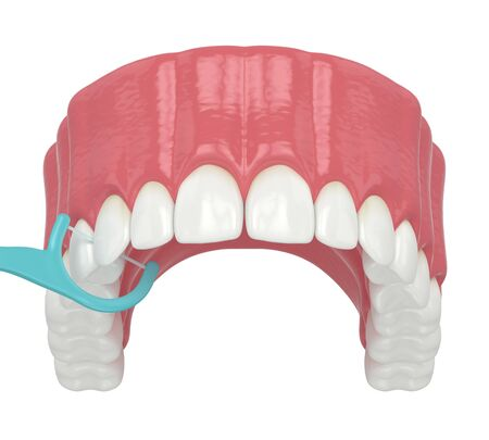 3d render of jaw with dental floss toothpick over white background Stok Fotoğraf