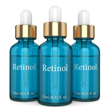 3d render of retinol bottles with dropper over white background