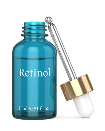 3d render of retinol bottle with dropper over white background