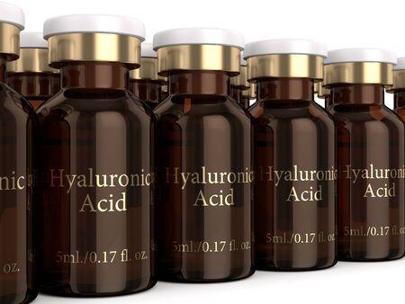 3d render of hyaluronic acid vials over white background Zdjęcie Seryjne