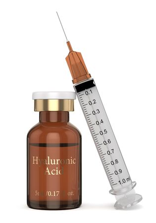 3d render of hyaluronic acid vial with syringe isolated over white background