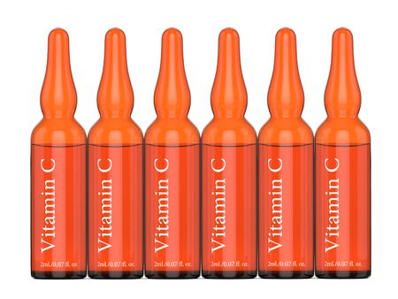 3d render of vitamin C ampoules over white background