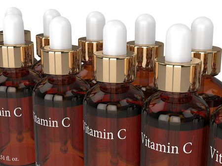 3d render of vitamin C bottles with dropper in row