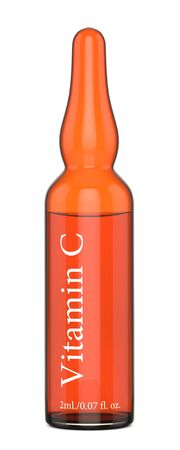 3d render of vitamin C ampoule over white background
