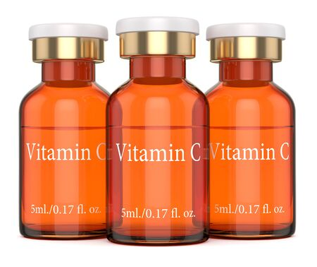 3d render of vitamin C glass bottles with flip off cap over white background