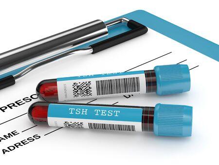Rendu 3D des tubes de sang d'essai de TSH se trouvant sur le presse-papiers sur fond blanc