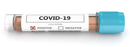 3d render of covid-19 positive nasal swab laboratory test over white