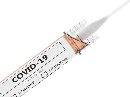 3d render of covid-19 nasal swab laboratory test over white