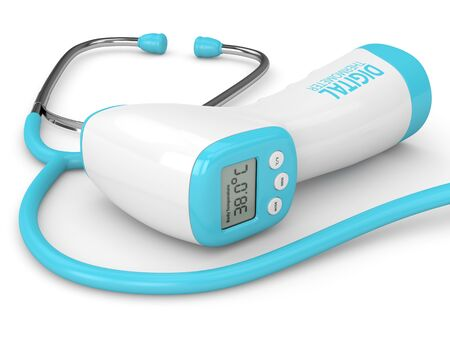 3d render of digital infrared no touch thermometer and stethoscope over white background