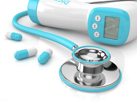 3d render of digital infrared thermometer with stethoscope and pills over white background