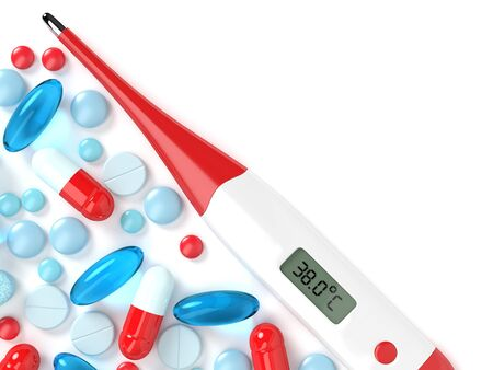 3d render of digital thermometer with pills and place for text