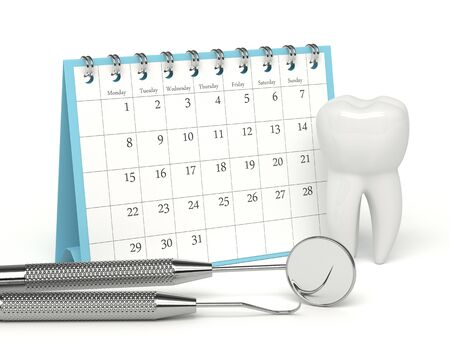 3d render of tooth, calendar and dental diagnostic instruments over white background