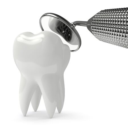 3d render of tooth decay and dental mirror over white background Zdjęcie Seryjne