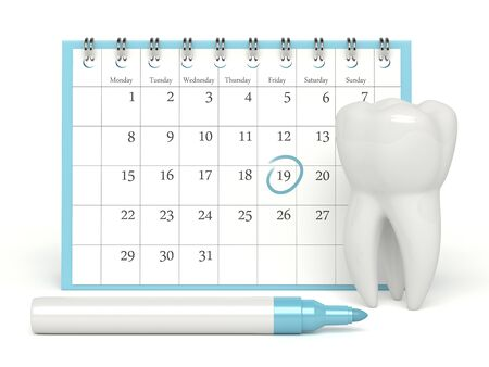 3d render of tooth and calendar with dentist appointment  over white background