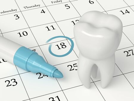 3d render of tooth staying on calendar. The concept of dentist appointment.