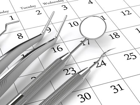 3d render of dental diagnostic instruments lying on calendar. Dentist appointment concept.
