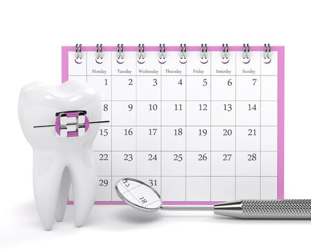 3d render of tooth with orthodontic braces standing and calendar over white