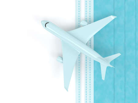 3d render of plane with protective mask over white. Travel after covid-19 concept.