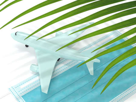 3d render of plane with palm leaf and a protective mask. Travel after covid-19 concept. Reklamní fotografie - 153655530