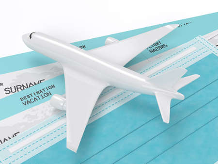 3d render of plane with tickets and a protective mask. Travel after covid-19 concept.