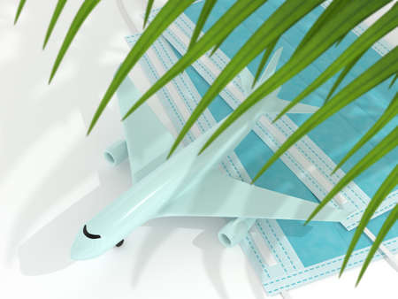 3d render of plane with palm leaf and a protective mask. Travel after covid-19 concept. Reklamní fotografie - 153655532