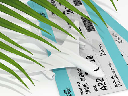3d render of plane tickets and plane. Vacation travel concept. Reklamní fotografie - 153655536