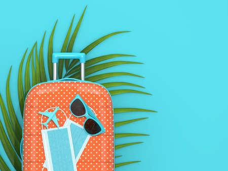 3d render of suitcase with protective masks. Traveling after covid-19 concept. Reklamní fotografie