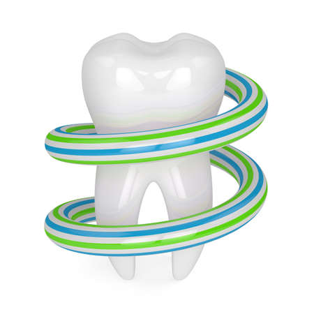 3d render of tooth with toothpaste around over white background