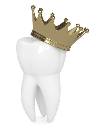 3d render of tooth in crown over white background