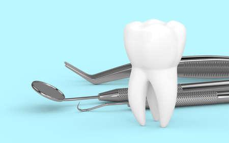 3d render of dental diagnostic instruments over light blue background