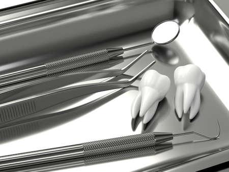 3d render of dental diagnostic instruments lying on dental tray Zdjęcie Seryjne