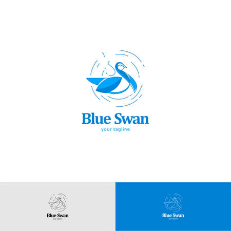 Blue Swan in Circle abstract Logo design Flat style