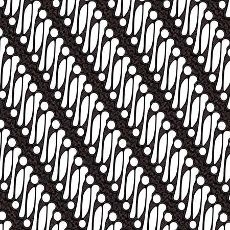 Batik Parang Jogja, motivo indonesiano, il batik è una tecnica di tintura resistente alla cera applicata su tutta la stoffa. Modello etnico geometrico Design tradizionale per sfondo, tessuto.