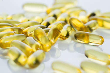 Close up of fish oil capsules photo