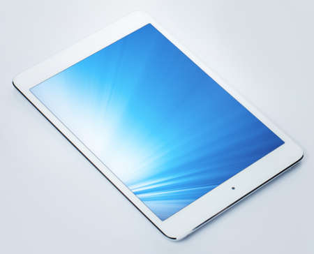 Tablet pc with shining screen white background Stock Photo