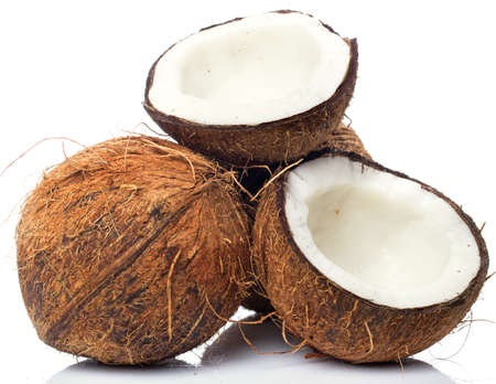 Fresh coconuts on white background Stock Photo