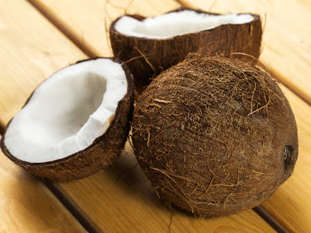 Close up of fresh coconuts photo