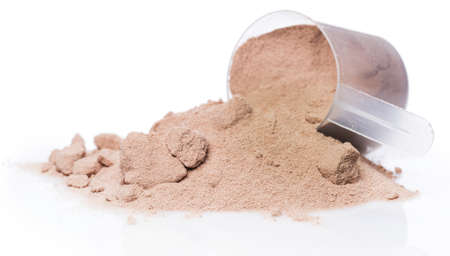 Whey protein powder and scoop photo